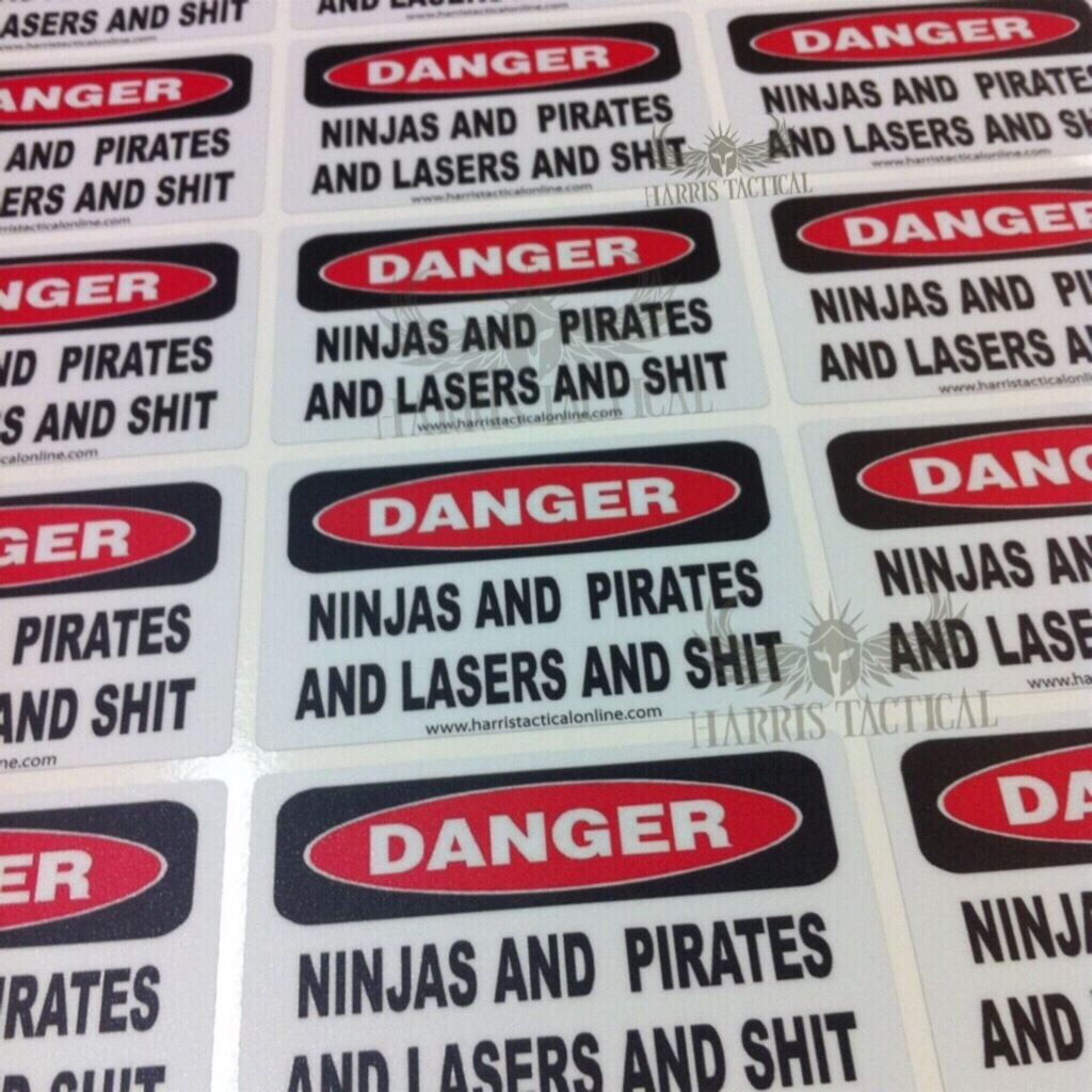 Danger Ninjas and Pirates and Lasers and Shit 4in. wide Stickers