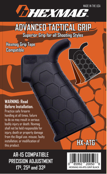 HEXMAG Advanced Tactical Grip in Black for AR15 Style Rifles